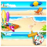 Holiday on Beach. Illustration of template for holiday on sea beach Stock Photo