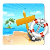 Holiday on Beach. Illustration of lifebouy and anchor with holiday board on sea beach Stock Photography