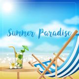 Holiday on beach summer with drinks on the table Royalty Free Stock Photography
