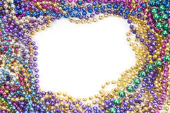 Holiday bead background. Holiday or mardi gras beads makingframe