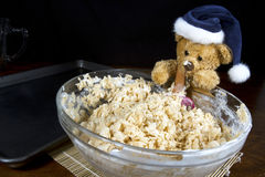 Holiday Bear Making Puffed Rice Cereal Treats Stock Photography