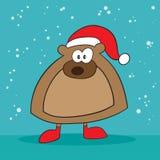 Holiday bear weird. Holiday bear with santa hat weird Royalty Free Stock Photography