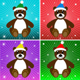 Holiday Bears. Cute holiday bears with colorful background Royalty Free Stock Photos