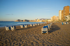 Holiday in Benidorm beach Stock Image