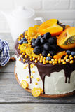 Holiday big cake with fruits Royalty Free Stock Photos