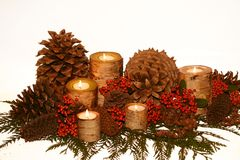 Holiday birch bark candlescape Stock Photography