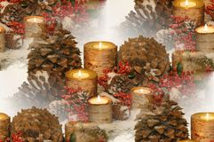 Holiday birch bark candlescape Royalty Free Stock Photos