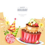 Holiday birthday background. With cake lollipop and hat Royalty Free Stock Photo