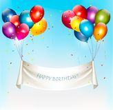 Holiday birthday banner with colorful balloons. And confetti. Vector Royalty Free Stock Photography
