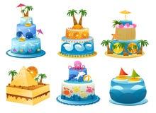 Holiday birthday cake. Set of six funny birthday cakes Royalty Free Stock Photography