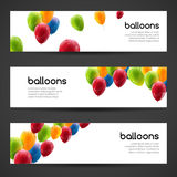 Holiday birthday horizontal banners set with colorful balloons. Vector illustration Stock Photography