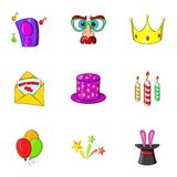 Holiday birthday icons set, cartoon style Stock Images