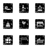 Holiday birthday icons set, grunge style. Holiday birthday icons set. Grunge illustration of 9 holiday birthday vector icons for web Stock Photography