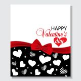 Holiday black background with hearts and red ribbon bow Valentines day etc. Design for posters, banners or cards. Vector Stock Photography