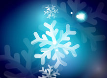Holiday blue abstract background, winter. Snowflakes, Christmas and New Year design template, light shiny modern vector illustration royalty free illustration
