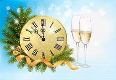 Holiday blue background with champagne glasses Royalty Free Stock Photography