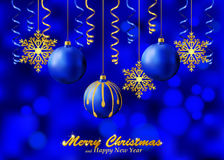 Holiday blue background with Christmas ornaments Stock Photography