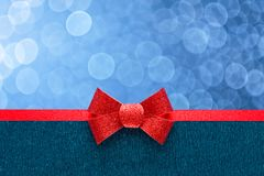 Holiday blue background with red ribbon Royalty Free Stock Images