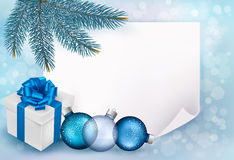 Holiday blue background with sheet of paper. Holiday blue background with Christmas sheet of paper and gift box. Vector illustration Royalty Free Stock Photography