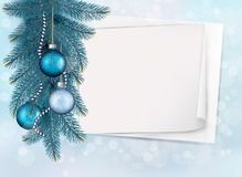 Holiday blue background with sheet of paper. Holiday blue background with Christmas sheet of paper and gift balls. Vector illustration Stock Image
