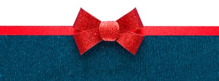 Holiday blue and white background with red ribbon Royalty Free Stock Photo