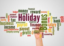 Holiday bonus word cloud and hand with marker concept. On gradient background stock photos