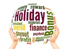 Holiday bonus word cloud sphere concept. On white background stock image