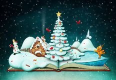 Holiday book with Christmas scene stock photo
