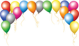 Holiday border of colourfull balloons Stock Images