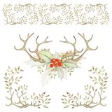 Holiday Borders and Bouquet Set Stock Images