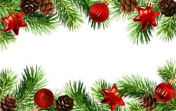 Holiday borders with Christmas tree twigs, cones, and balls. Isolated on white royalty free stock photo