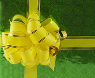 Holiday bow on green background Stock Photo
