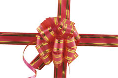 holiday bow on yellow background Stock Photo