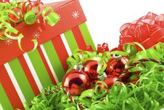 Holiday Box with Colorful Decorations Royalty Free Stock Images