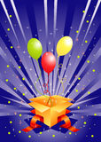 Holiday box with gift balloons Stock Image