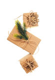 Holiday boxes and toy snowflakes on white background Royalty Free Stock Image