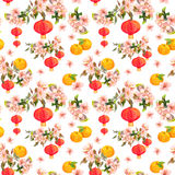 Holiday branch of mandarin with blossom plum, red paper lantern. Chinese new year seamless pattern. Watercolor Royalty Free Stock Image