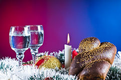 Holiday bread and beverages Stock Photo