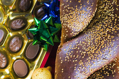 Holiday bread and candy Stock Images