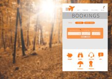 Holiday break App Interface in forest Royalty Free Stock Photography