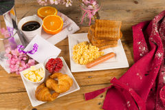Holiday breakfast table stock image