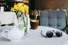 Tea and sunglasses royalty free stock photography
