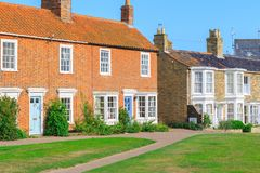 Holiday brick cottages in Southwold, a popular seaside town in the UK royalty free stock photography