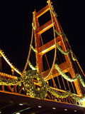 Holiday Bridge. Golden Gate Bridge model decorated for Christmas Holidays royalty free stock photo