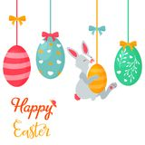 Holiday bright design with cute Easter rabbit stock illustration