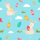 Holiday bright pattern with cute Easter rabbits stock illustration