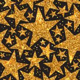 Holiday bright seamless pattern of gold shiny stars. Holiday bright seamless pattern of gold shiny sparkles and sequins in the form of stars on a black Stock Image