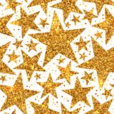 Holiday bright seamless pattern of gold shiny stars. Holiday bright seamless pattern of gold shiny sparkles and sequins in the form of stars on a white Royalty Free Stock Image