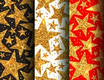 Holiday bright seamless pattern of shiny stars. Holiday set of bright seamless patterns with shiny sparkles and sequins stars in disco style for New year on a Royalty Free Stock Image