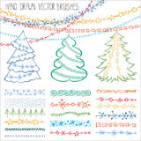 Holiday  brushes.Christmas doodles set.Colored Royalty Free Stock Images